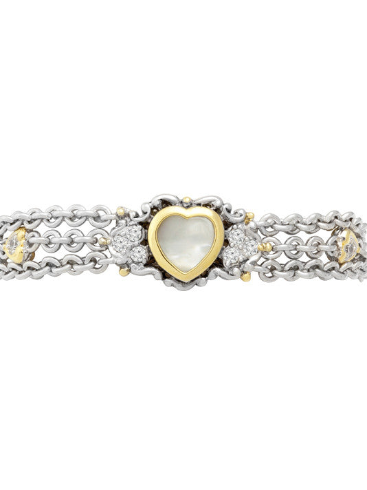 Heart Collection Mother of Pearl Triple Chain Bracelet