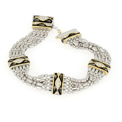 Lattice Collection - Black Abalone Edition - Pavé 5 Strand Bracelet
