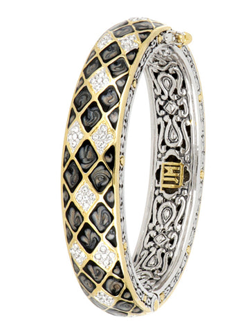 Lattice Collection - Black Abalone Edition - Pavé Hinged Bangle Bracelet