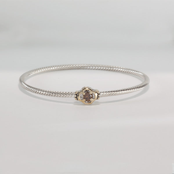 O Link Collection Chocolate CZ Flower Bangle