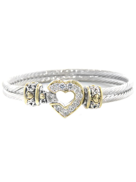 Heart Collection Pavé Heart Double Wire Bracelet