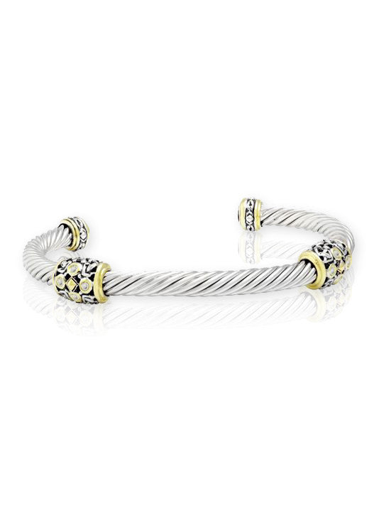 O-Link Filigree Twist Wire Station Bracelet in CZ.