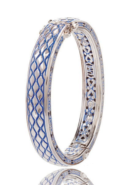 Lattice Collection - Lapis Edition - Hinged Bangle Bracelet