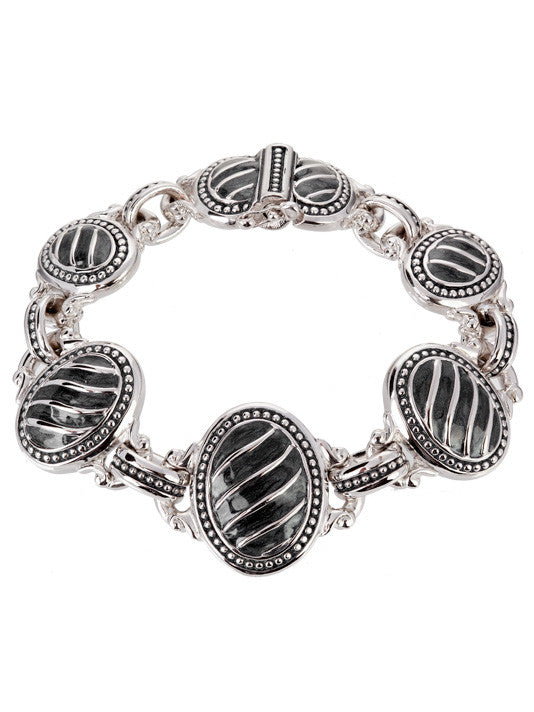 Ocean Images Black Seas Collection Large 5 Oval Link Bracelet