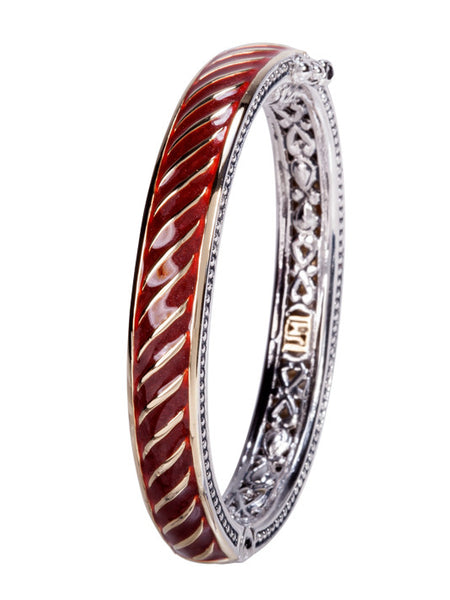 Lattice Collection - Carnelian Small Hinged Bangle Bracelet