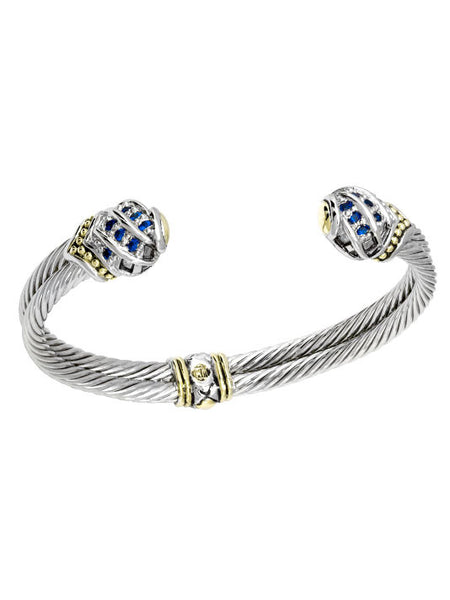 Indigo End Double Wire Cuff Bracelet