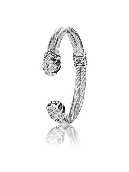 Pavé End Double Wire Cuff Bracelet by John Medeiros Jewelry Collections.