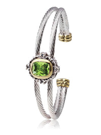 Simplicity Rectangle Double Wire Bracelet in Peridot.