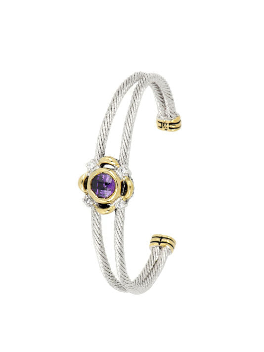Nouveau Collection Simplicity Round Double Wire Bracelet Lavender