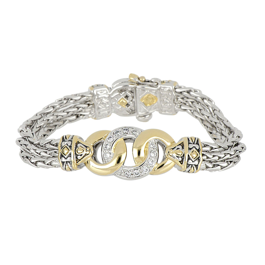 Antiqua Three Circle CZ Bracelet
