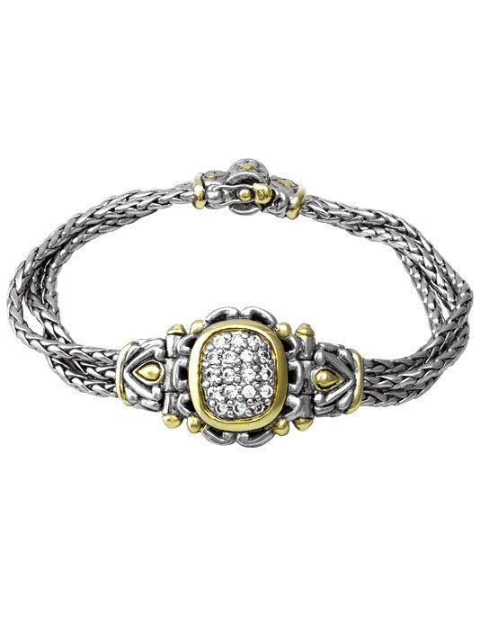 Nouveau Collection Simplicity Pavé Antique Oval Center Bracelet