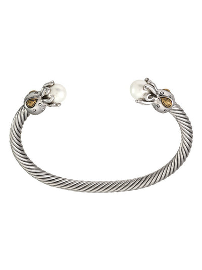 Ocean Images Aqua Viva Seaside Collection Octopus Thin Wire Pearl Cuff - John Medeiros Jewelry Collections