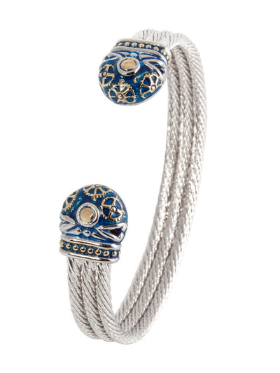 John Medeiros Anvil Collection - Gears of Time Edition - Blue Triple Wire Cuff Bracelet