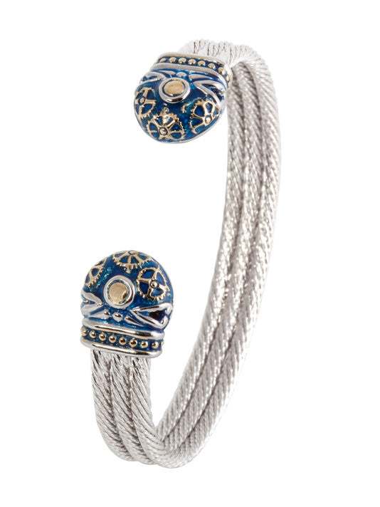 John Medeiros Anvil Collection - Gears of Time Edition - Two Tone Triple Wire Cuff Bracelet