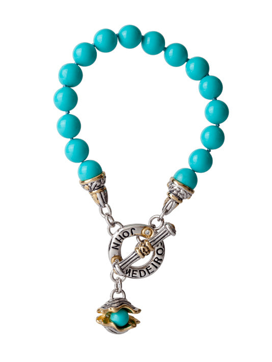 "Ocean Images Collection ""Pearl in Shell"" String of Knotted Pearls Bracelet - Turquoise"