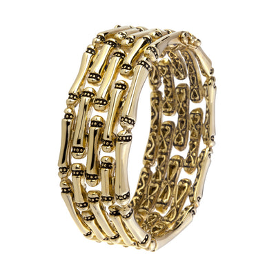 Canias Gold Five Row Hinged Bangle Bracelet