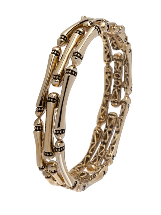 Canias Gold Collection Three Row Hinged Bangle Bracelet