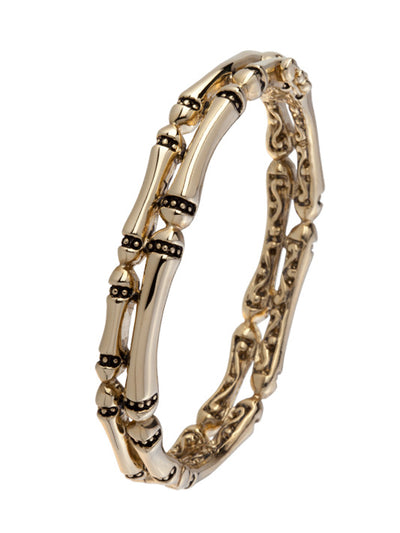 Canias Gold Collection Two Row Hinged Bangle Bracelet