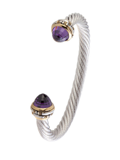 Cor Collection Large Wire Cuff Bracelet with amethyst color stones