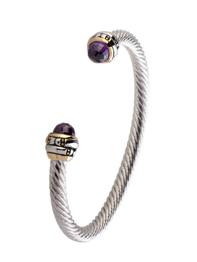 Cor Collection Medium Wire Cuff Bracelet with amethyst color end stones