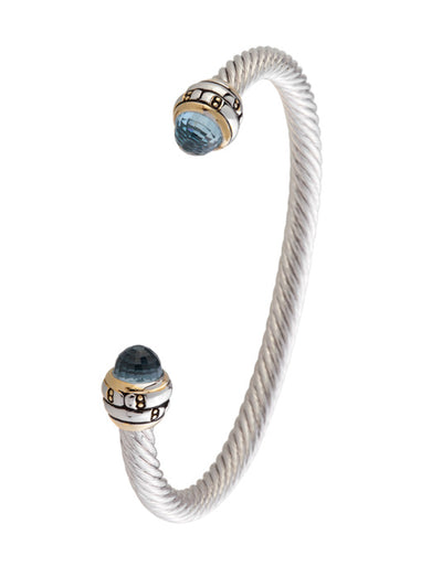 Cor Collection Medium Wire Cuff Bracelet with aqua color end stones