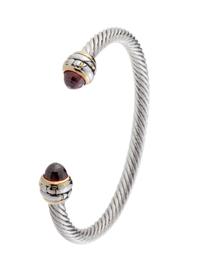 Cor Collection Medium Wire Cuff Bracelet with garnet color end stones
