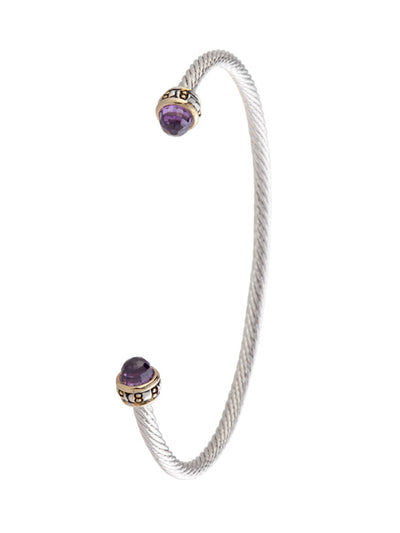 Cor Collection Thin Wire Cuff Bracelet with amethyst color stones