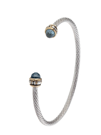Cor Collection Thin Wire Cuff Bracelet with aqua color stones