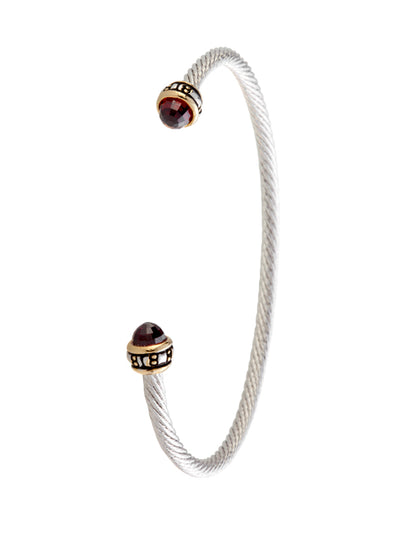 Cor Collection Thin Wire Cuff Bracelet with black color stones