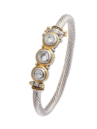 Beijos Collection Three Stone CZ Wire Bracelet