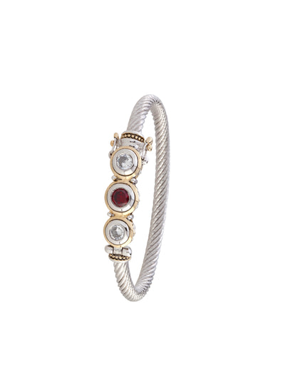 Beijos Three Stone Clear and Garnet CZ Wire Bracelet