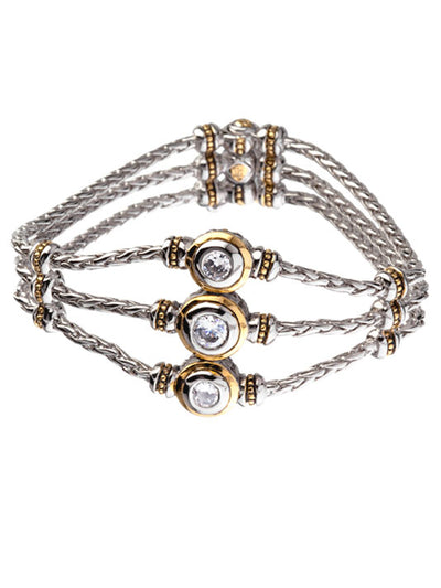 Beijos Collection 3 Strand 3 Stone CZ Bracelet