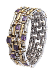 Cor Collection Five Row Hinged Bangle Bracelet with amethyst color stones