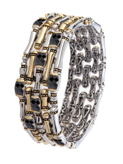 Cor Collection Five Row Hinged Bangle Bracelet with Black stones