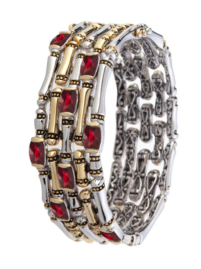 Cor Collection Five Row Hinged Bangle Bracelet with garnet color stones