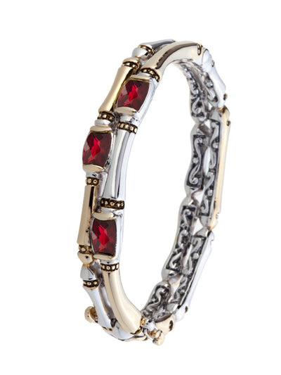 Cor Collection Two Row Hinged Bangle Bracelet with Garnet CZ