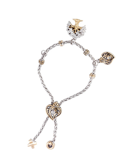 CZ Tree of Life Adjustable Bracelet with FREE MOM Heart Charm