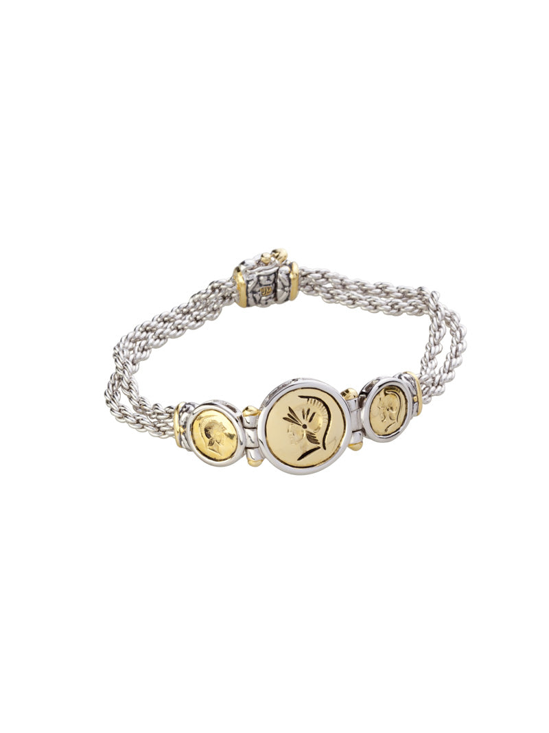 Intaglio Two Tone 3 Station Bracelet
