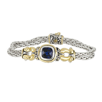 Anvil Color Indigo CZ Horseshoe Two Strand Bracelet