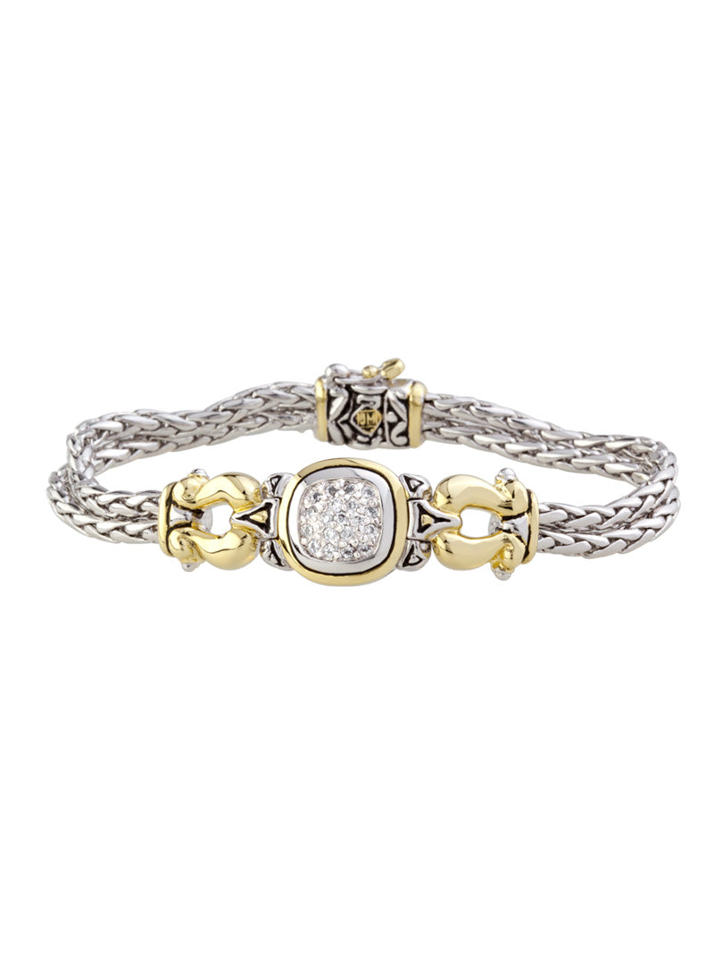 Anvil Pavé Two Tone Two Strand Bracelet