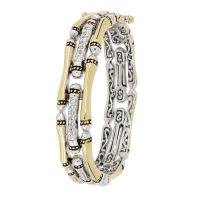 Canias Pavé Three Row Hinged Bracelet
