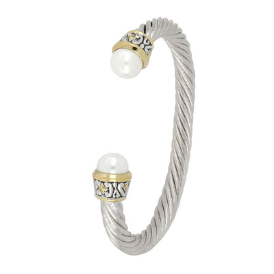 Ocean Images Collection Large 10mm White Pearl Wire Cuff Bracelet