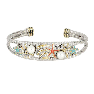 Caraiba Collection White Pearl and Turquoise Double Wire Cuff Bracelet
