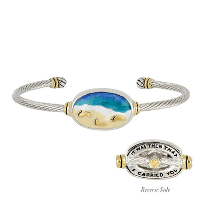 Celebration Memories Footprints in the Sand Wire Cuff Bracelet