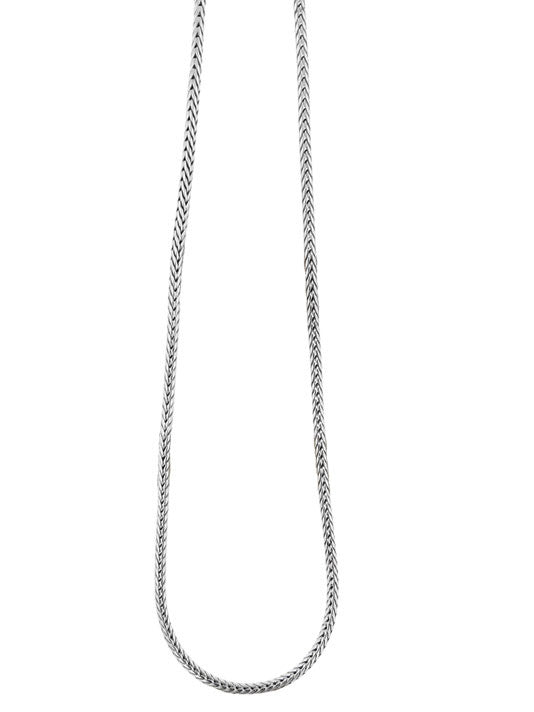 Thin Fox Tail Rhodium Chain