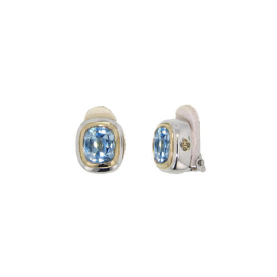 Nouveau Aqua CZ Clip Earrings