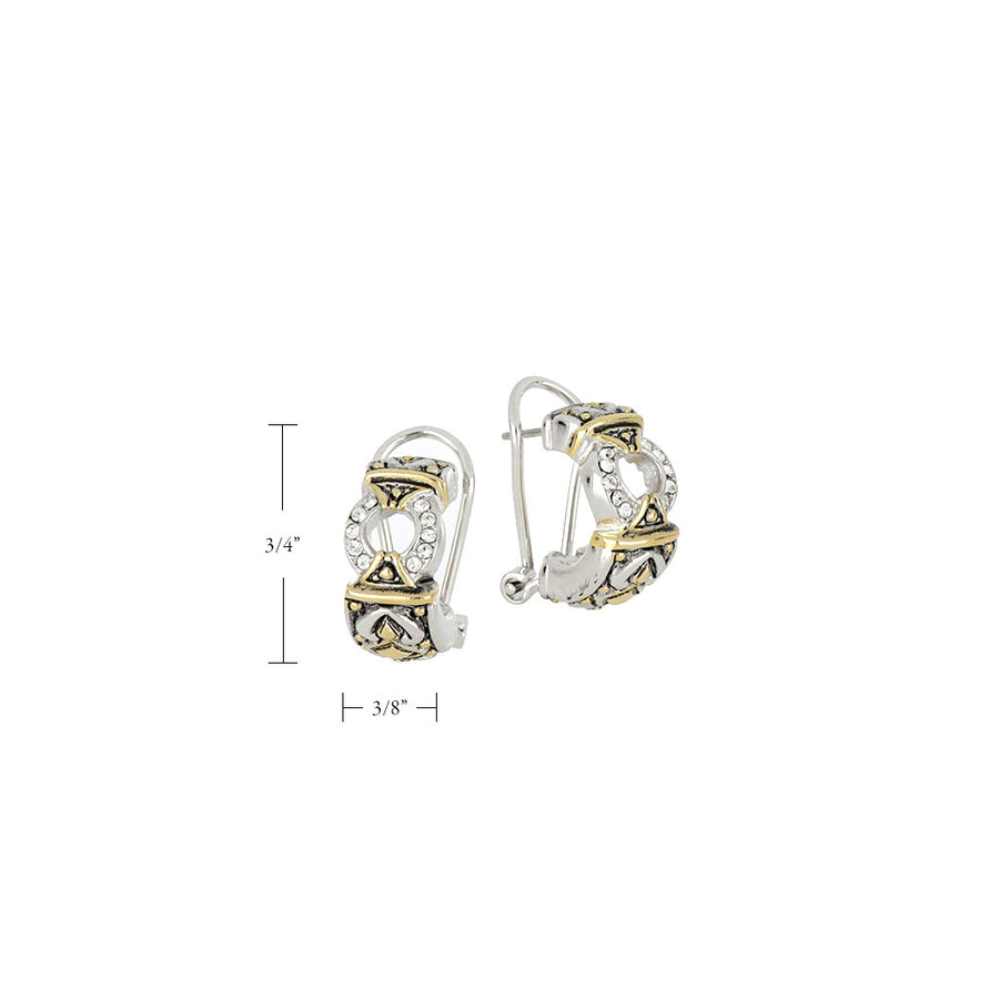Antiqua Pavé Circle Post Clip Earrings