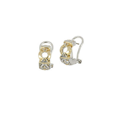 Antiqua Gold Circle Post Clip Earrings