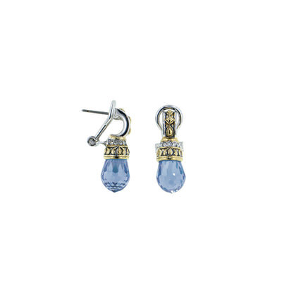 Briolette Aqua CZ Drop Post with Clip Earrings