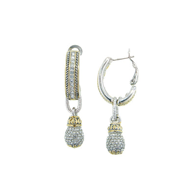 Briolette Pavé Drop Hoop Earrings